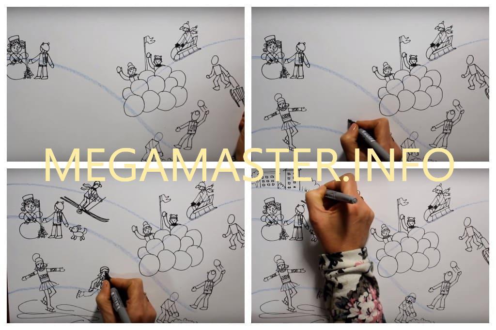 Красочный рисунок зимы для детей (Шаг 3)