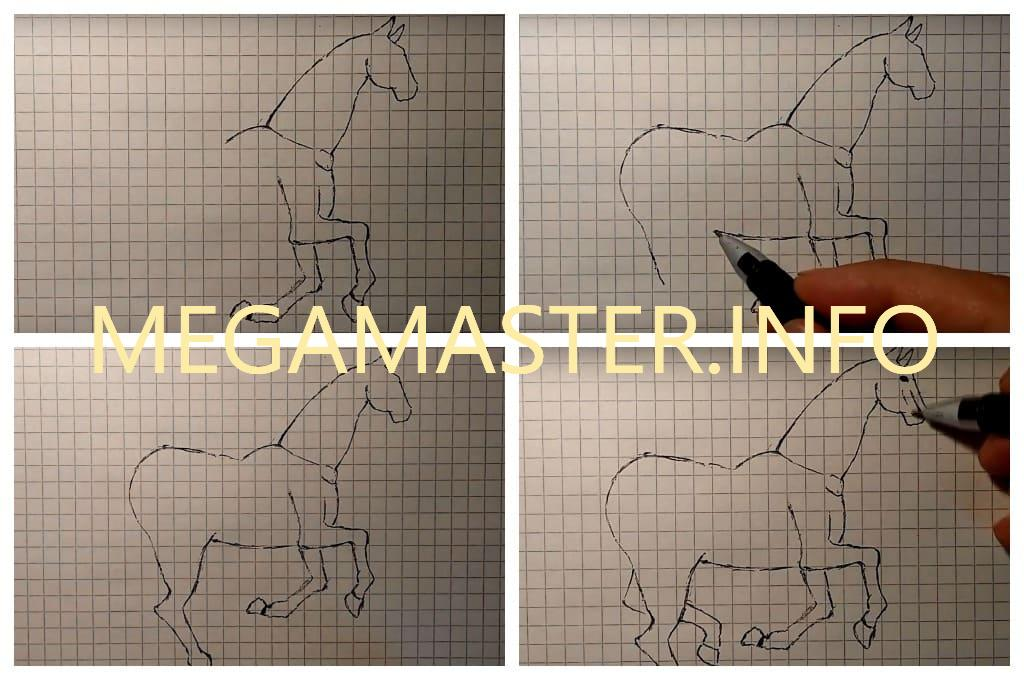 Рисуем лошадь по клеточкам (Шаг 2)