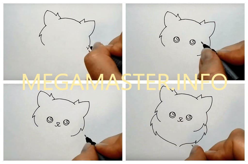 рисунок милая кошка (Шаг 1)