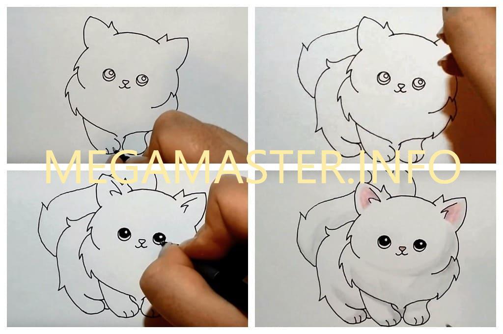 рисунок милая кошка (Шаг 2)