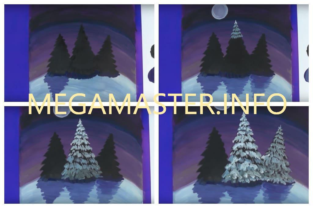 Ночной зимний пейзаж (Шаг 3)