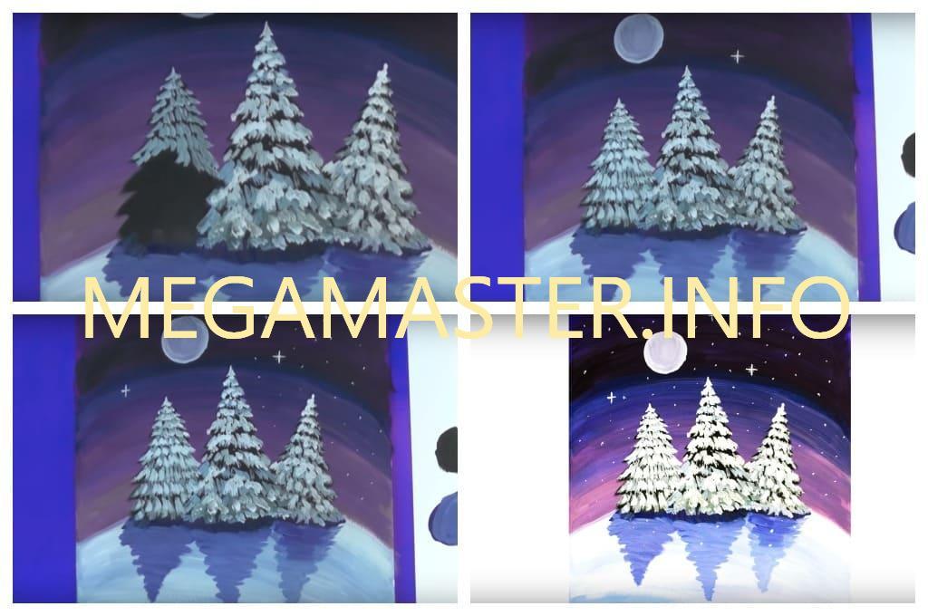 Ночной зимний пейзаж (Шаг 4)