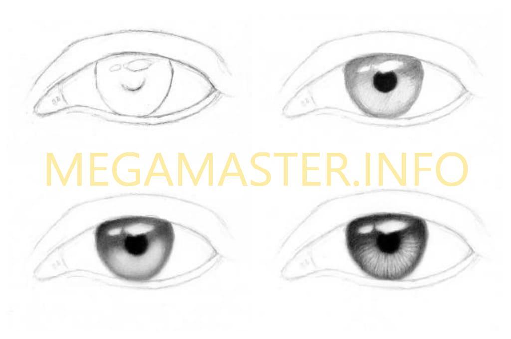Общие принципы рисования глаз (Шаг 1)
