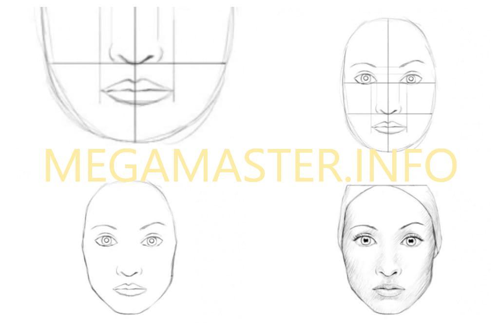 рисунки лица людей поэтапно для начинающих нашли такую