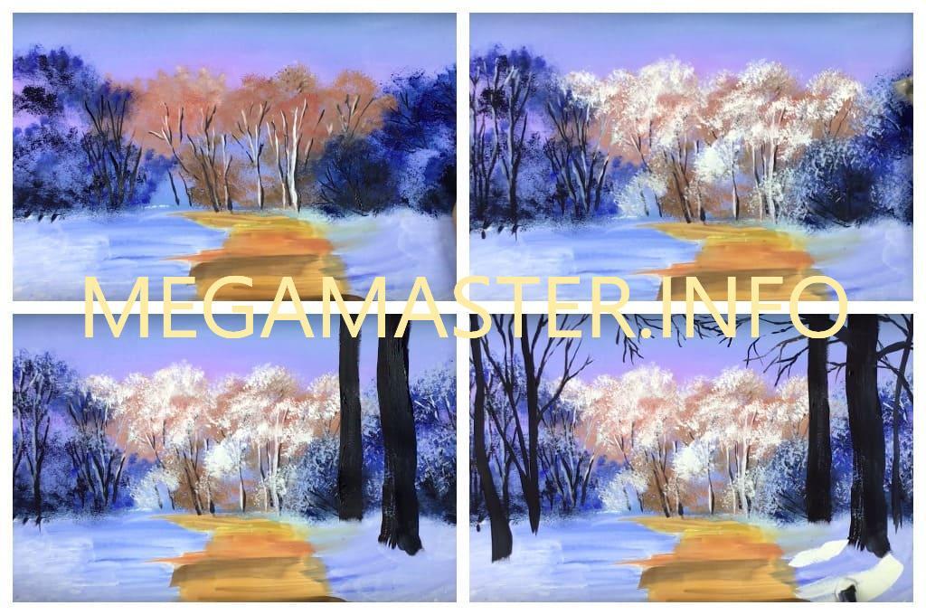 Зимний пейзаж гуашь (Шаг 3)