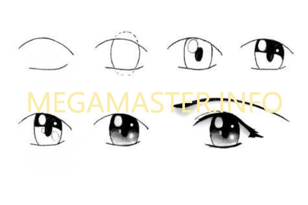 Простая схема рисунка аниме глаз