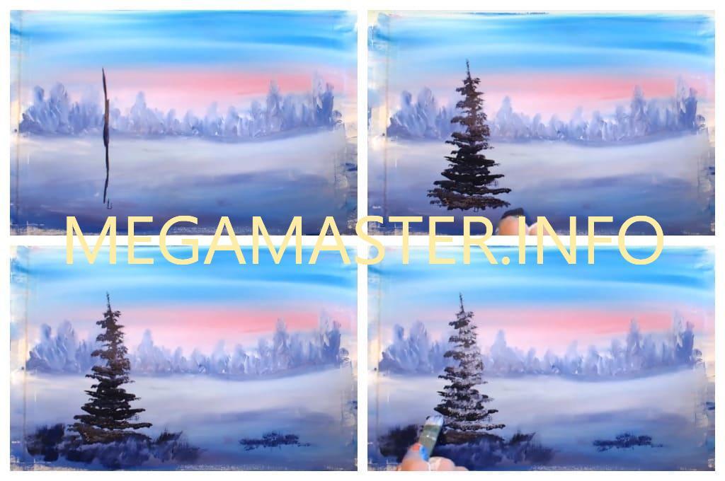 "Пейзаж ""Волшебные краски зимы"" шаг 3"