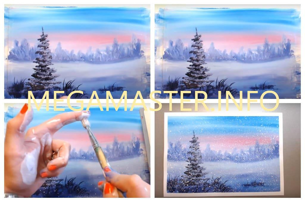 Рисование зимы необычным способом (Шаг 4)