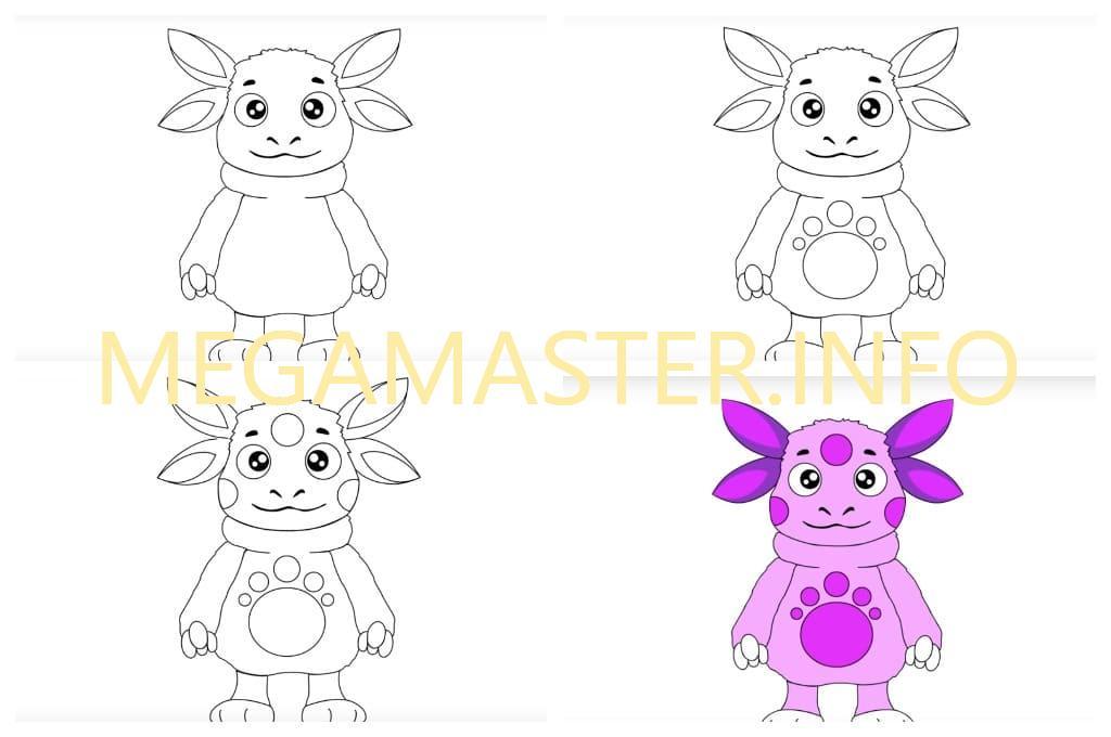 Рисуем Лунтика с малышами (Шаг 3)