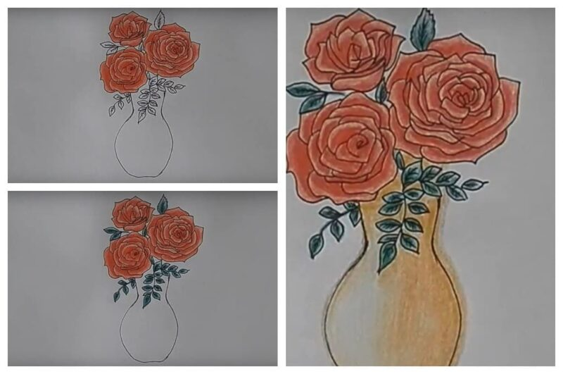 Рисуем вазу с розами (Шаг 3)