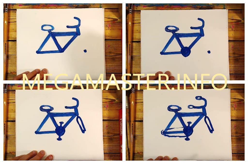 Как красками нарисовать велосипед для детей (Шаг 2)