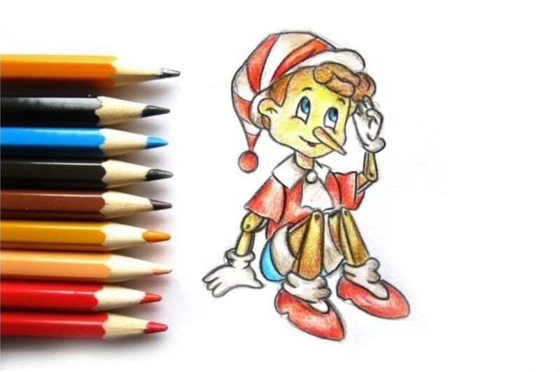Как нарисовать Буратино карандашом поэтапно для детей