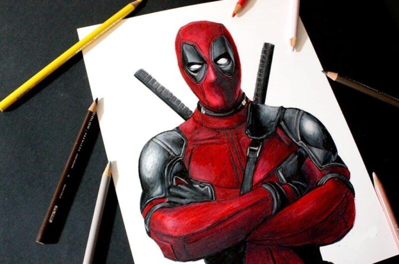 Как нарисовать Дэдпула карандашом поэтапно для начинающих