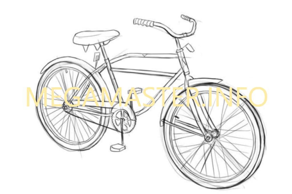 Как нарисовать велосипед карандашом (Шаг 4)