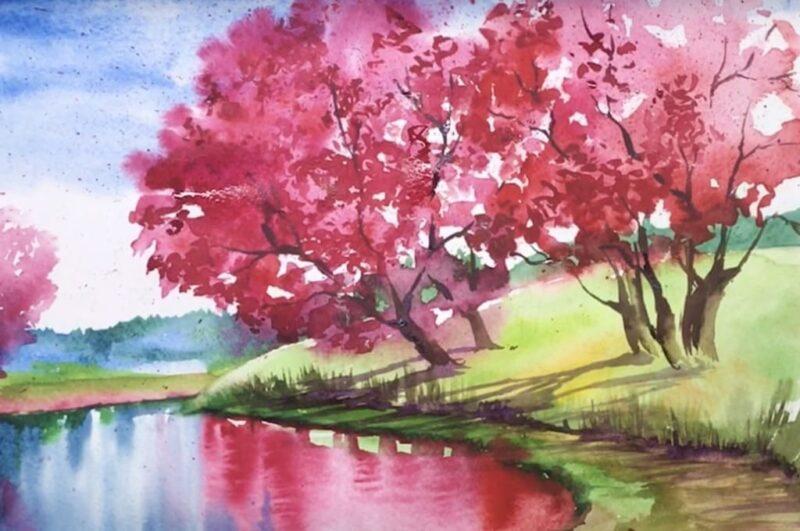 Как нарисовать весенний пейзаж поэтапно для начинающих