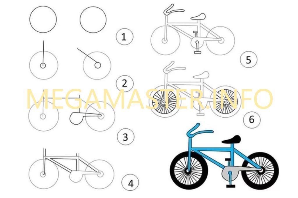 можно картинки велосипедиста карандашом поэтапно содержит