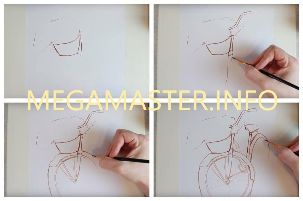 Рисуем велосипед с цветами (Шаг 1)