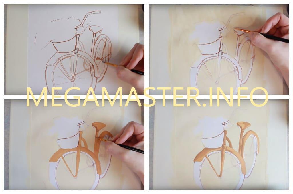 Рисуем велосипед с цветами (Шаг 2)
