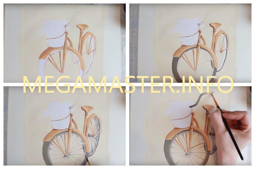 Рисуем велосипед с цветами (Шаг 3)