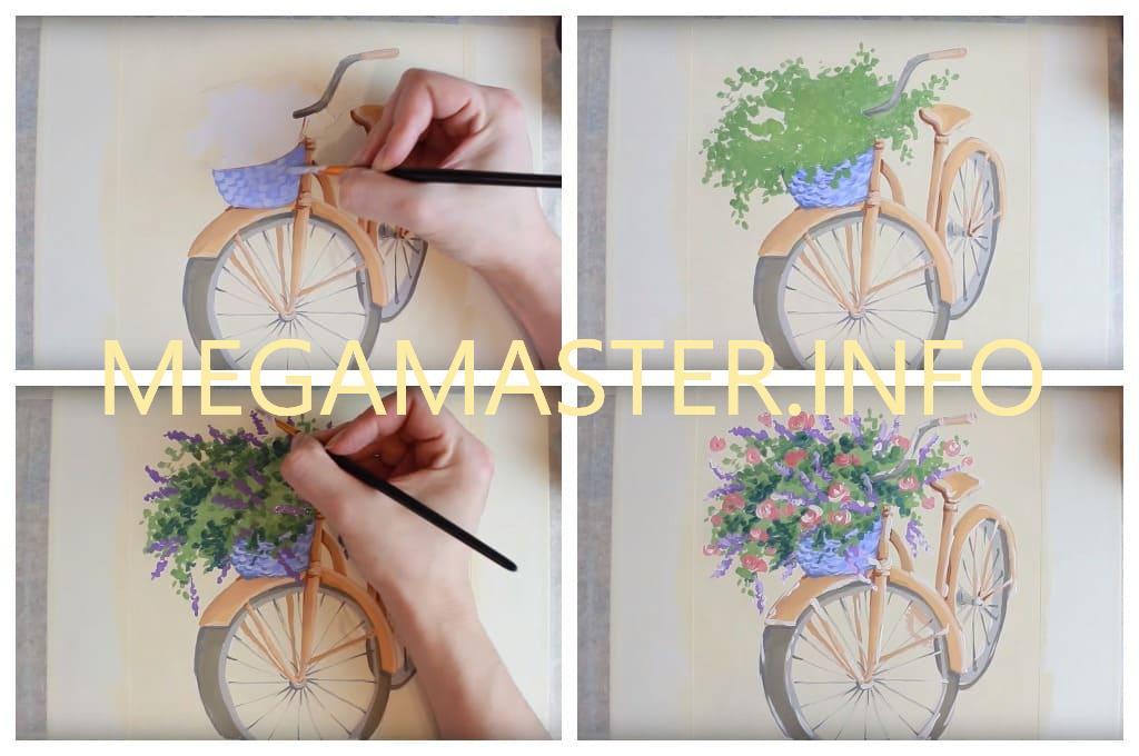 Рисуем велосипед с цветами (Шаг 4)