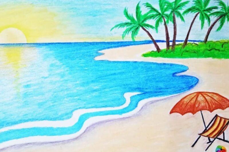 Как легко нарисовать рисунок на тему лето