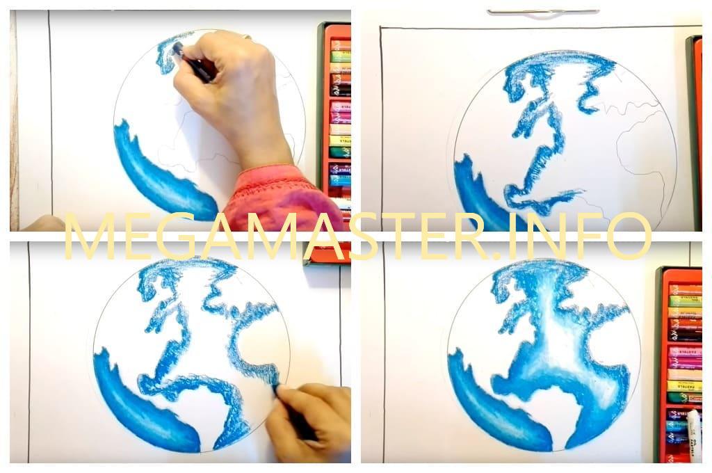Как нарисовать планету масляной пастелью (Шаг 3)