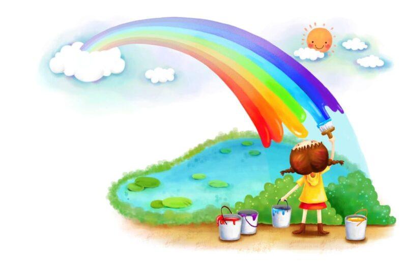 Как нарисовать радугу красиво карандашом и красками