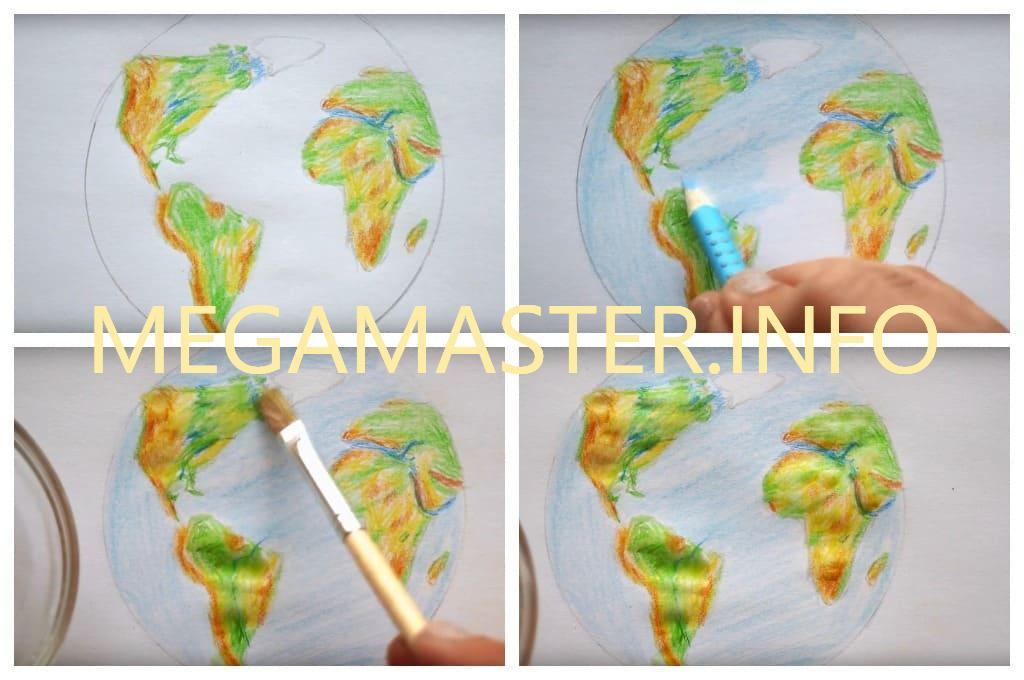 Планета Земля рисование для деток (Шаг 4)