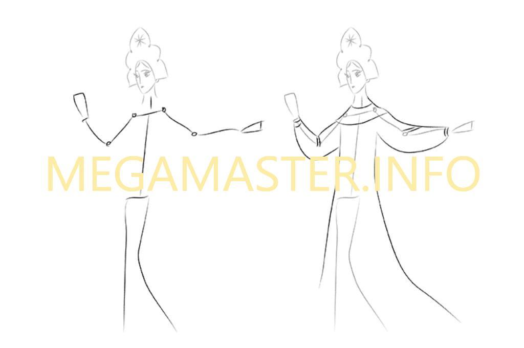 Как нарисовать Царевну Лебедь (Шаг 3)