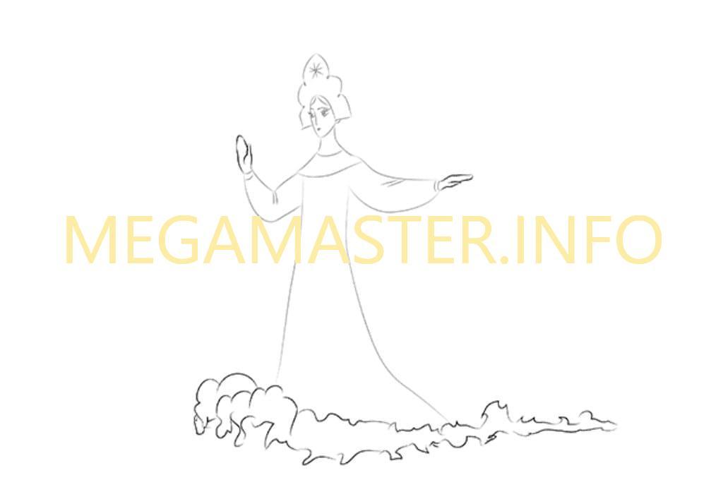 Как нарисовать Царевну Лебедь (Шаг 4)