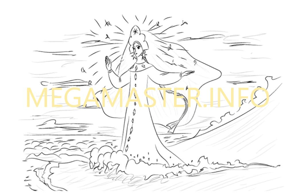 Как нарисовать Царевну Лебедь (Шаг 5)