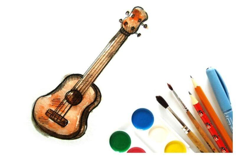 Как нарисовать гитару карандашом