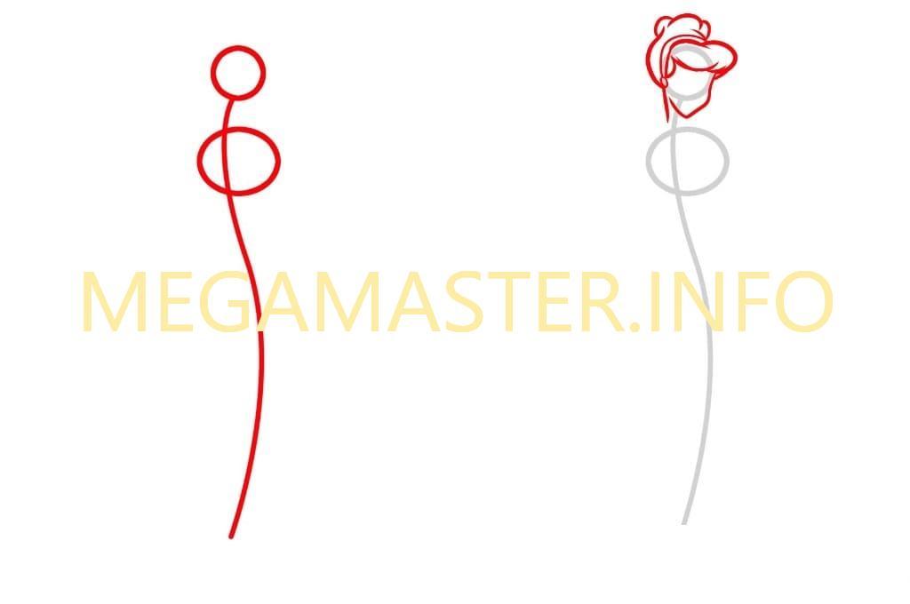 Как нарисовать Золушку легко (Шаг 1)