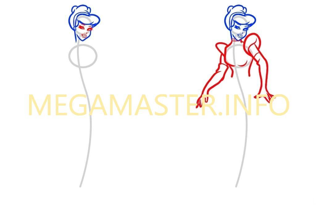 Как нарисовать Золушку легко (Шаг 2)