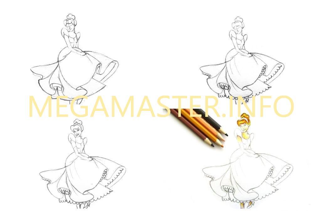 Красочный рисунок принцессы (Шаг 2)
