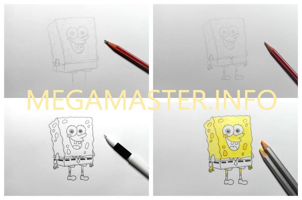 Как нарисовать Спанч боба карандашом (Шаг 2)