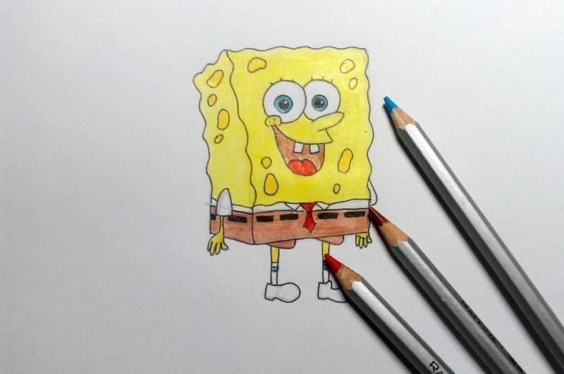 Как нарисовать Спанч боба карандашом (Шаг 3)