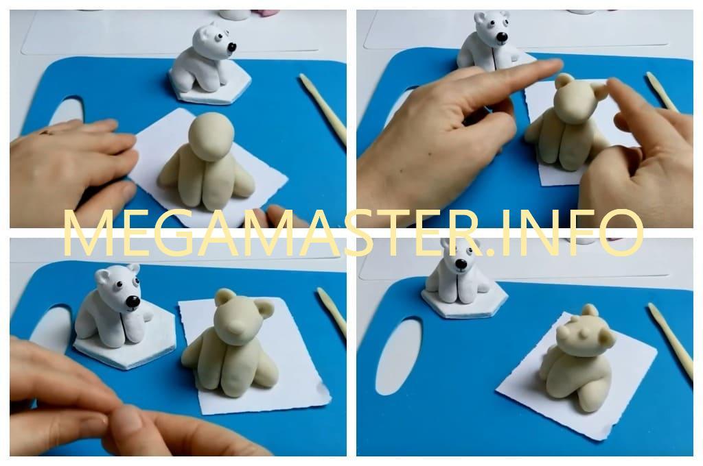 Лепим белого мишку Умку (Шаг 3)