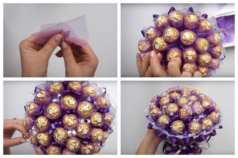 Как сделать букет из конфет своими руками пошагово