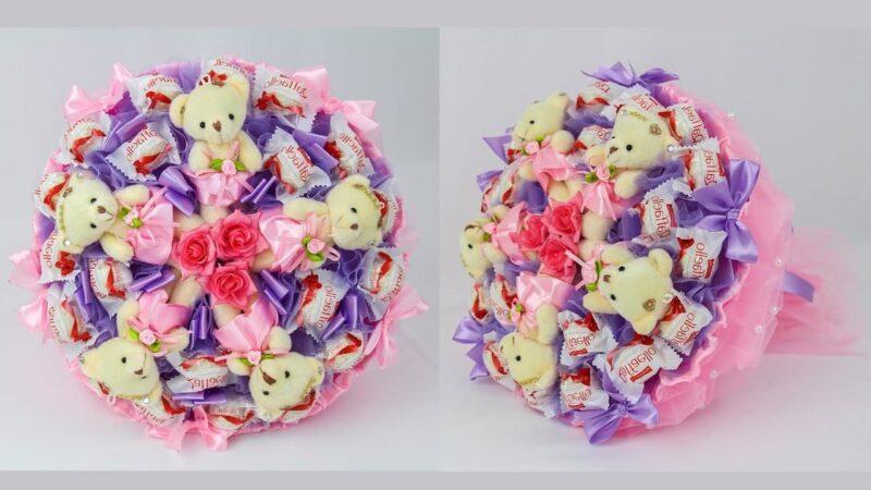 Как сделать букет из игрушек и конфет