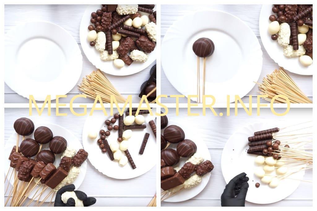 Как сделать букет из шоколадных сладостей (Шаг 1)
