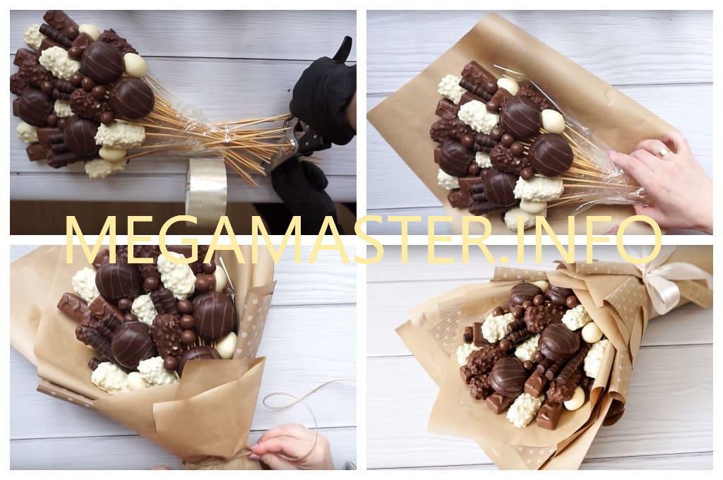Как сделать букет из шоколадных сладостей (Шаг 3)