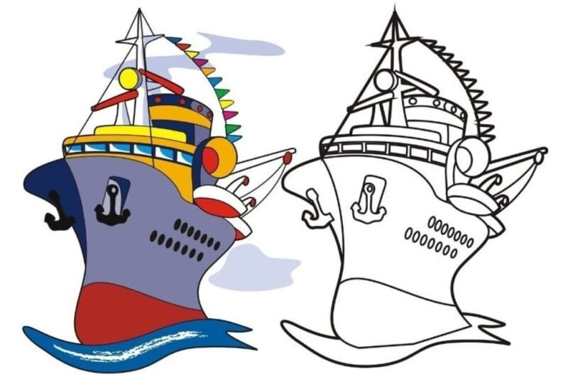 Раскраска корабль для детей