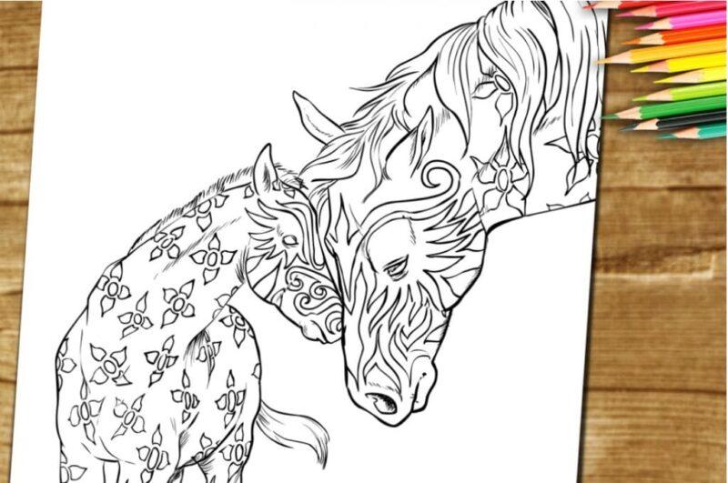 Раскраска лошадь для детей распечатать