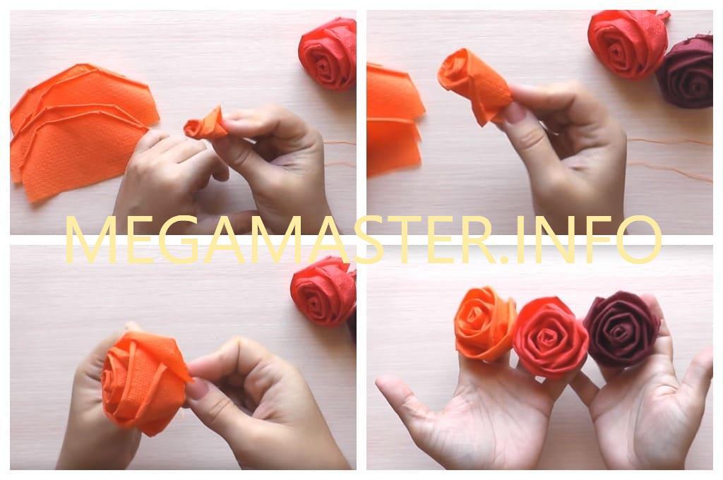 Роза из салфеток для топиария (Шаг 3)