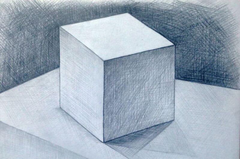 Как нарисовать куб карандашом объёмно