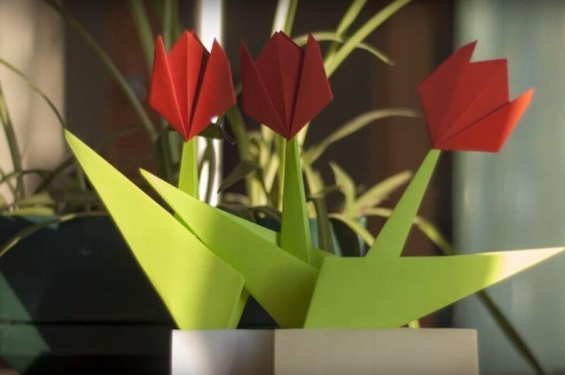 Как сделать оригами тюльпан из бумаги схема для начинающих