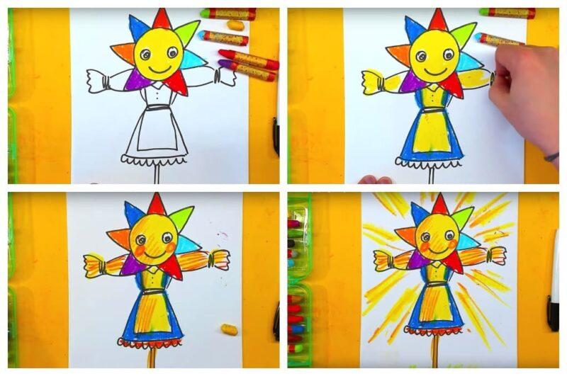 Как нарисовать Масленицу для детей карандашом поэтапно