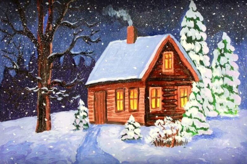 как нарисовать зиму легко