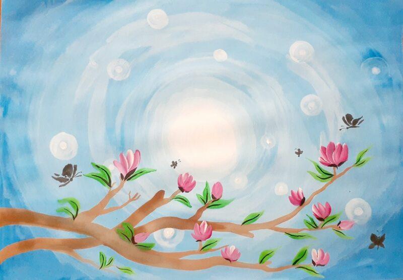 Как нарисовать Ветвь сакуры